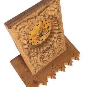 Iranian wood carving desktop clock made by Mohammad Mehdi Tavakkol