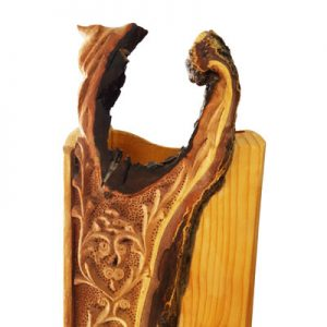 Iranian wood carving flower vase Mohammad Mehdi Tavakol, Iranian wood carving flower vase