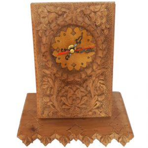Monabat Kari desktop clock, Purchase Iranian wood carving desktop clock from handicrafts365