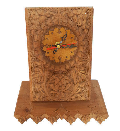 Monabat Kari desktop clock, Purchase Iranian wood carving desktop clock from handicrafts365