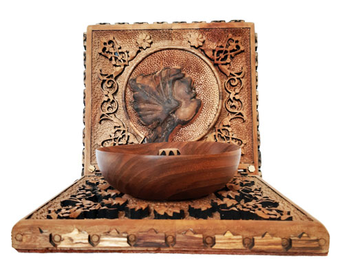 Wooden jewelry bowl, Iranian wood carving jewelry box
