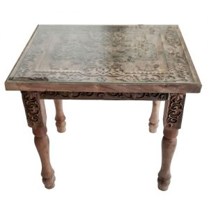 Monabat Kari side table - Purchase Iranian wood carving side table from handicrafts365.com