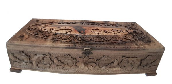 Iranian Wood Carving Box (Fox Escape) made by Mohammad Mehdi Tavakol