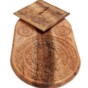 Oval Wood Carving Wall Clock made by Mohammad Mehdi Tavakol - handicrafts365.com