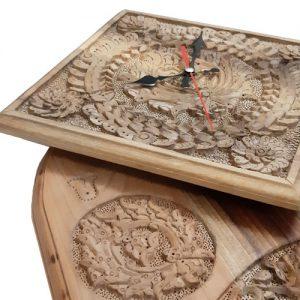 Oval Wooden Wall Clock made of walnut wood