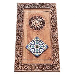 Rectangular wood carving wall clock - Handicrafts365.com