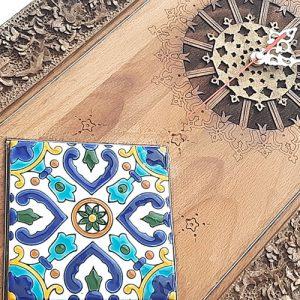 Rectangular wooden wall clock made by mohammad mehdi tavakol