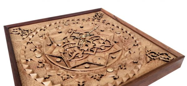 Iranian wood carving clock (heaven)